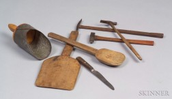 Seven Assorted Small Wooden and Metalware Household Items