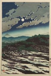 Hasui: A Moonlit Sky with Storm Clouds over Snow-patched Hills