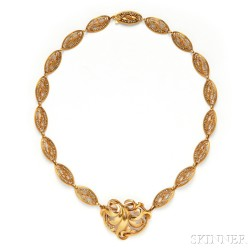 Gold and Seed Pearl Necklace