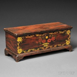 Child's Paint-decorated Poplar Six-board Chest