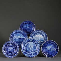 Six Historical Blue Staffordshire Pottery Transfer-decorated Plates