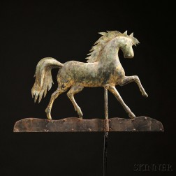 Gilded Molded Copper and Sheet Iron Prancing Horse Weathervane