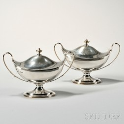 Pair of George V Sterling Silver Sauce Tureens and Covers