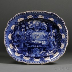 "Historical Blue Transfer-decorated Staffordshire Pottery ""States"" Platter"