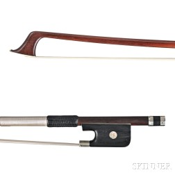 French Nickel Silver-mounted Cello Bow, Nicolas Maline, c. 1845