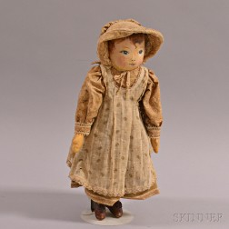 Martha Chase-type Painted Oilcloth Doll