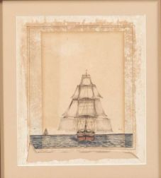 """American School, 19th Century    """"English East India company Ship in chase of the Potomac."""""""