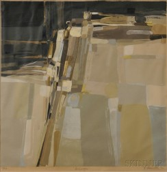 Edmond Casarella (American, 1920-1996)      Seven Landscapes and Abstractions, including Rock Cascade ,  Hillside ,  Rock Ledge