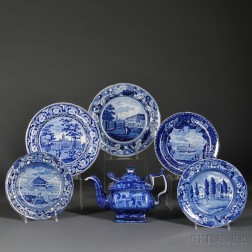 Six Transfer-decorated Historical Blue Staffordshire Pottery Items