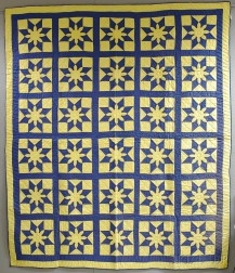 """Yellow and Blue """"Star Dahlia"""" Patchwork Cotton Quilt"""