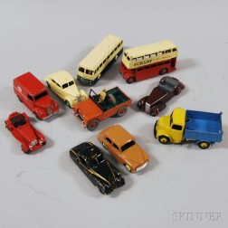 Ten Meccano Dinky Die-cast Metal Toy Cars, Trucks, and Buses