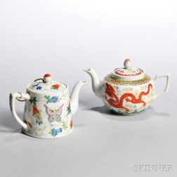 Two Famille Rose Teapots