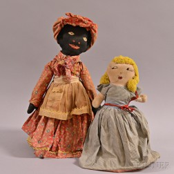 Black and White Topsy Turvy Cloth Doll, a Black Rag Doll, and a Black Bottle Doll