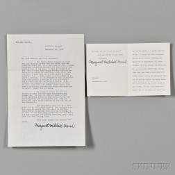 Mitchell, Margaret (1900-1949) Two Typed Letters Signed, 1941 and 1942.