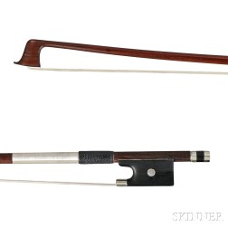 French Nickel Silver-mounted Violin Bow, School of Bazin