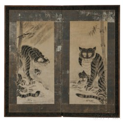 Two-panel Folding Screen Depicting Tigers