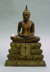 Carved Wooden Figure of Buddha on Stand