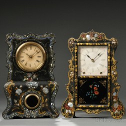 Two Mother-of-pearl-decorated Shelf Clocks