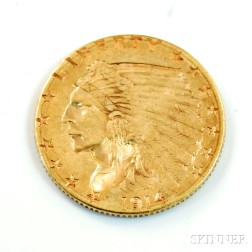 1914-D Indian Head Two and a Half Dollar Gold Coin.