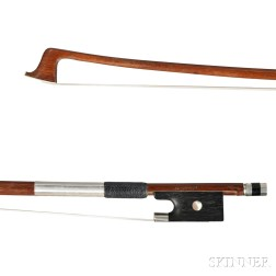 French Nickel Silver-mounted Violin Bow, Jerome Thibouville-Lamy