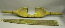 Painted Wooden Gold Coin Stoves and Ranges, Boyntonville N.Y. Trade Sign Fragment and a Painted Wooden Scoop ...