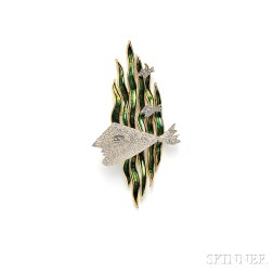 "18kt Gold and Enamel ""Hebe"" Brooch, Georges Braque"