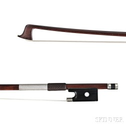 French Nickel Silver-mounted Violin Bow, E.F. Ouchard