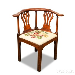 Chippendale-style Mahogany Roundabout Chair