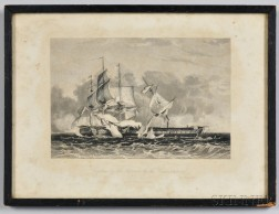Capture of the Guerriere by the Constitution   Engraved Print Gifted to George Roosevelt