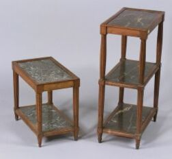 Two Louis XVI Style Walnut and Grey Marble End Tables