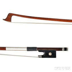 French Nickel Silver-mounted Violin Bow, from the Shop of Marc Laberte