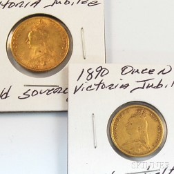 1892 Jubilee Sovereign and 1890 Jubilee Half Sovereign Gold Coins.     Estimate $400-600