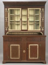 Painted, Carved, and Glazed Poplar Step-back Cupboard
