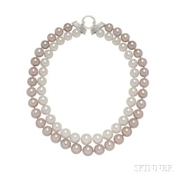 South Sea and Freshwater Pearl Double-strand Necklace