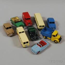 Nine Assorted Die-cast Metal Meccano Dinky Toy Cars, Buses, and Trucks