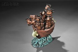 """David Gilhooly (American, 1943-2013)      Four Bears in an Ark with """"Neo Greek"""" Urns"""