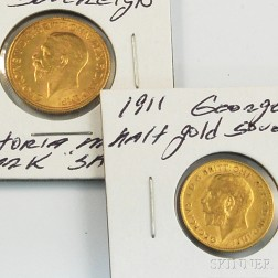 1930 George V South African Sovereign and 1911 George V Half Sovereign Gold Coins.     Estimate $400-600