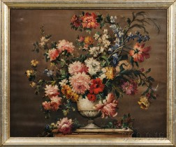 Continental School, 19th Century      Elaborate Floral Still Life in an Urn