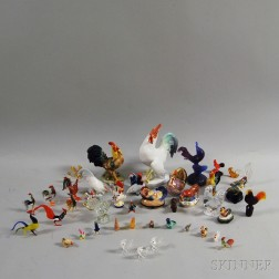 Collection of Mostly Ceramic and Glass Roosters