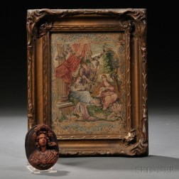Carved Wood Portrait Miniature and Needlework Genre Scene