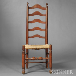 Red-stained Slat-back Side Chair