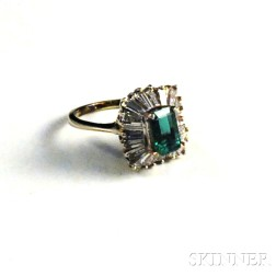 14kt White Gold, Diamond, and Emerald Ring