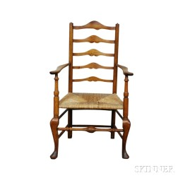Queen Anne Cherry Slat-back Armchair