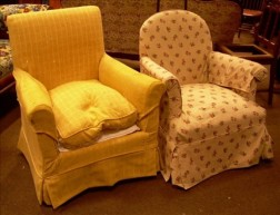 Two Upholstered Boudoir Armchairs.