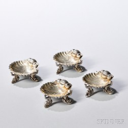 Four English Sterling Silver Shell-form Individual Salts