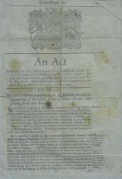 Framed 1757 Act Regulating Province of Massachusetts-Bay in New England Townships, Choice of Town Officers, and...