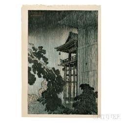 Ito Shinsui (1896-1972), Night Rain at Mii Temple