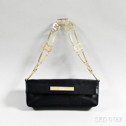 Escada Black Leather Evening Bag