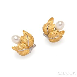 18kt Gold and Cultured Pearl Earrings, Buccellati