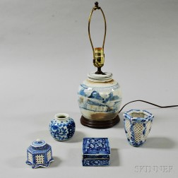 Five Blue and White Porcelain Items